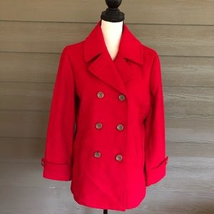 Lands' End Wool Blend Pea Coat Jacket peacoat red